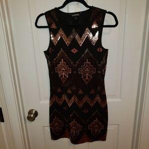 Express Women's Small Tribal Sequin Dress